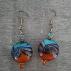 Hand painted multi colored w/sparkle earrings